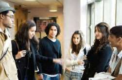 image of teenagers in hallway